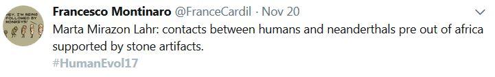 #HumanEvol17 tweet by @FrancesCardil